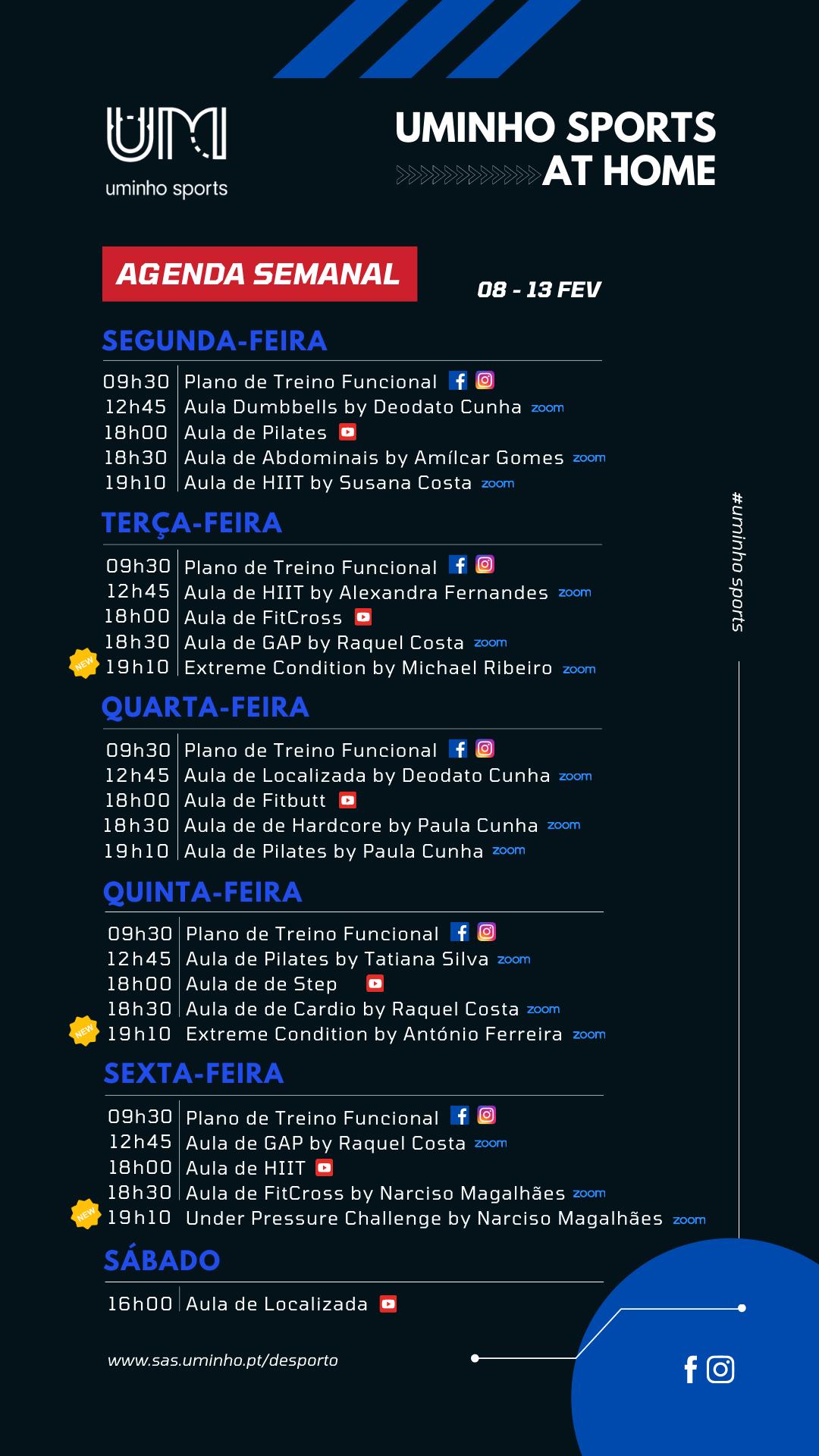 Agenda - 08 a 13 de fevereiro