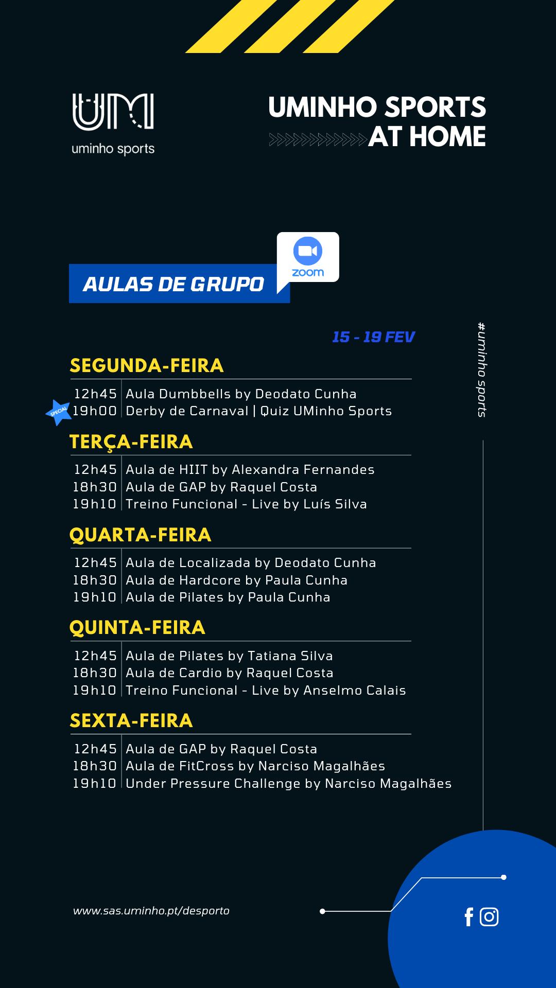 Agenda - 15 a 19 de fevereiro (grupos)